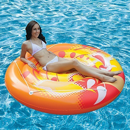 71 Orange, Yellow and White Inflatable Calypso Island Swimming Pool Raft with Perimeter Rope by Swim Central
