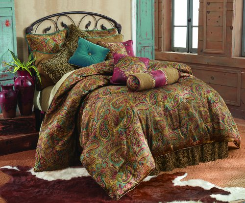 HiEnd Accents San Angelo Western Comforter Set with Leopard Bedskirt, King