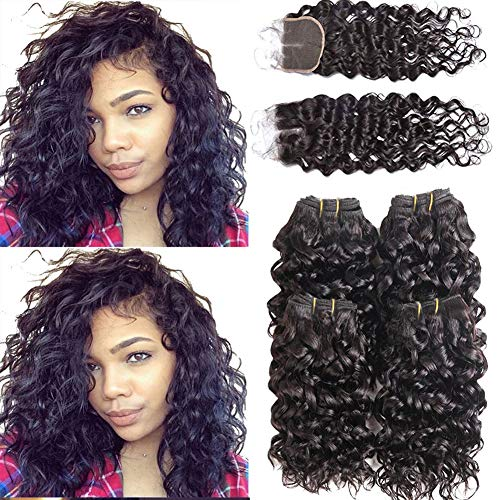 Peiyulex Brazilian Water Wave Bundles With Closure,Wet and Wavy Human Hair 4 Bundles with Lace closure Ocean Wave Human Hair Weave Extensions Remy Hair 50g/bundle (4x10inch+10 Middle part) (Best Colored Weave Hair)