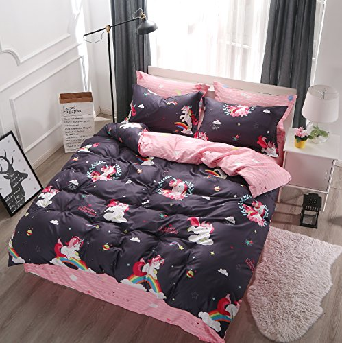 Ludan 3 Pieces Unicorn Kids Bedding Duvet Cover Set Reversible Twin Full Queen King Teen Bedding Collections Set For Boys Girls Zipper Closure,Gifts for Friends (Unicorn, Full)