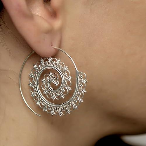 6f66e0933 Amazon.com: Boho Hoop Earrings, Unique Tribal Silver Large Spiral Threader  Earrings, Ethnic Gypsy Style, Handmade Statement Jewelry: Handmade