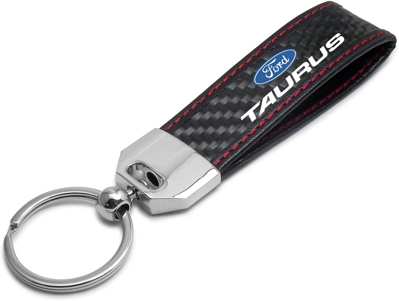 Ford Expedition Black Leather /& Carbon Fiber Key Chain Red Stitching