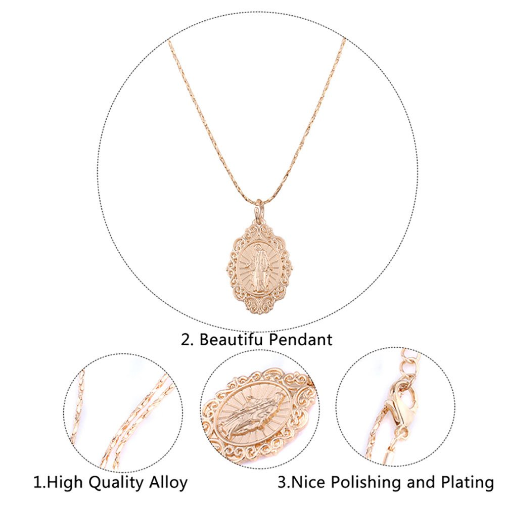 mnefel Gold Plated Virgin Mary Medal Pendant Necklace Miraculous Medal Patron Saint of Generosity by mnefel (Image #4)