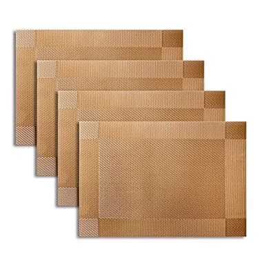 Placemat,U'artlines Gold Crossweave Woven Vinyl Non-slip Insulation Placemat Washable Table Mats Set of 4