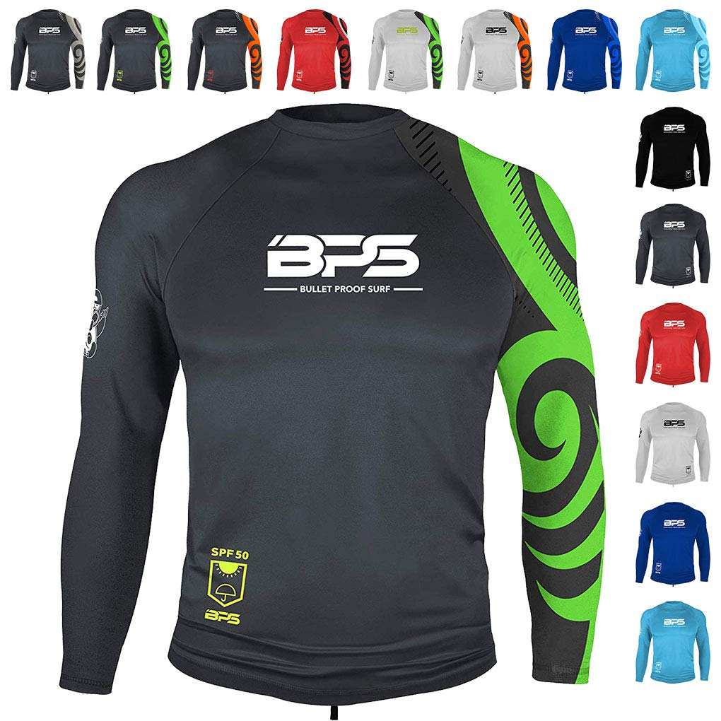 BPS Mens Long Sleeve Quick Dry Rash Guard 50+ UPF- Charcoal Lime, XXL by BPS