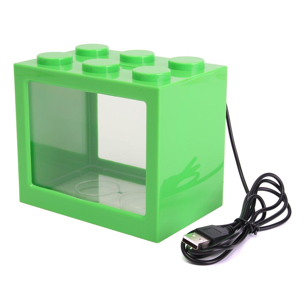Green Isali USB LED Light Clear Fish Tank Isali Aquarium Box Bettas Office Desktop Decor (color  Green) Fish & Aquatic Pets Aquarium Fish Tank