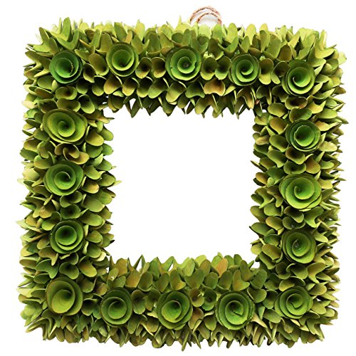 Boxwood Festival Wreath, Natural Wood, Artificial All-season Wreath for the Front Door, Home Décor,17.5 Inches, Square