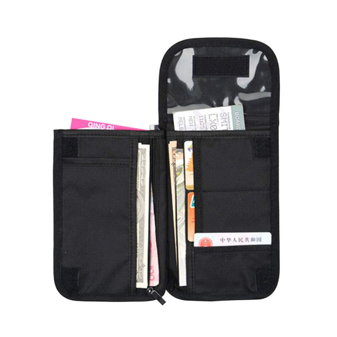 Jiyaru Passport Wallet Organizer Zippered Holder with Shoulder Strap Document Bag for Travel Black