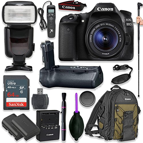 Canon EOS 80D Digital SLR Kit with EF-S 18-55mm f/3.5-5.6 Image Stabilization STM Lens (Black) with Pro Battery Grip, Professional TTL Flash, Deluxe Backpack 200EG, Spare LP-E6 Battery (17 items)