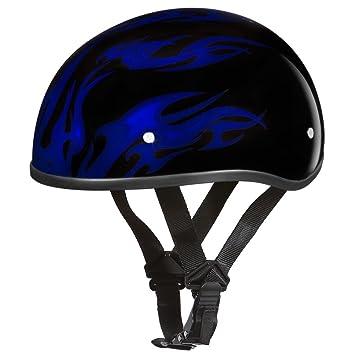 Motocicleta media Casco d.o.t. Daytona Calavera Cap- W/Llamas Azul por Daytona