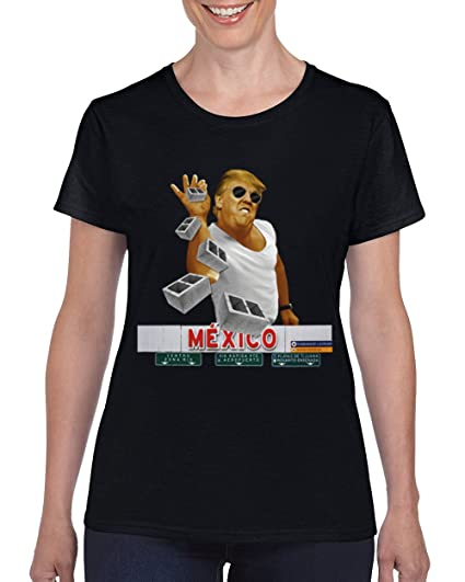 9ea33062a833 Trump Build The Wall Salt Bae Mexico Brick Pinch Donald T-Shirt for Women  Round