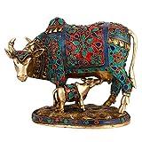 Beautiful Decorative Cow and Calf Brass Stone Work Statue