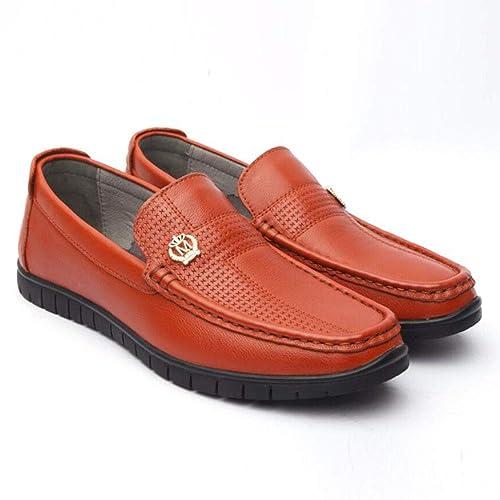 Zapatos de Cuero para Hombres, Mocasines de Primavera/otoño y Slip-Ons Zapatos de Guisantes, Set de pies Zapatos Perezosos/Zapatos Casuales/Zapatos para ...