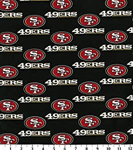 Cotton NFL San Francisco 49ers Football Print Cotton Fabric By the Yard