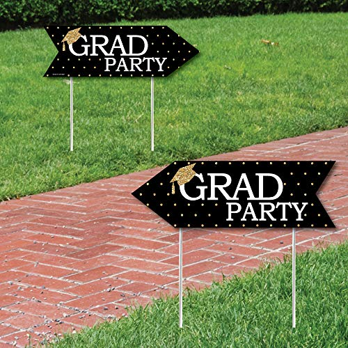 Gold - Tassel Worth The Hassle - Graduation Party Sign Arrow - Double Sided Directional Yard Signs - Set of 2 ()