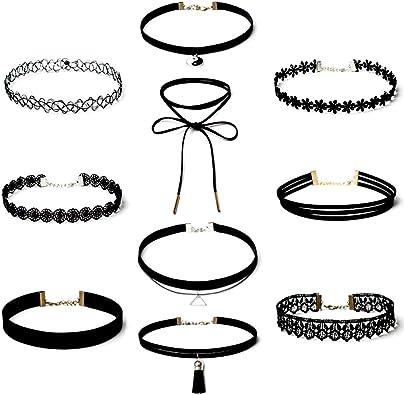 yeemeen Gargantilla de Terciopelo 10 PCS Collares de Terciopelo, Choker Collares, Choker Terciopelo, Estilo Gótico Gargantilla Collar Negro, Conjunto de Collar de Clásico para Mujer Ajustable: Amazon.es: Joyería