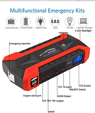 Color : AU Plug Auto Starthilfe Powerbank 9900mAh Best Car Jump Starter High Power Tragbare Auto-Ladeger/ät Multifunktions-Start-Jumper Car Battery Booster Bewegliche Auto-Batterie-Starter