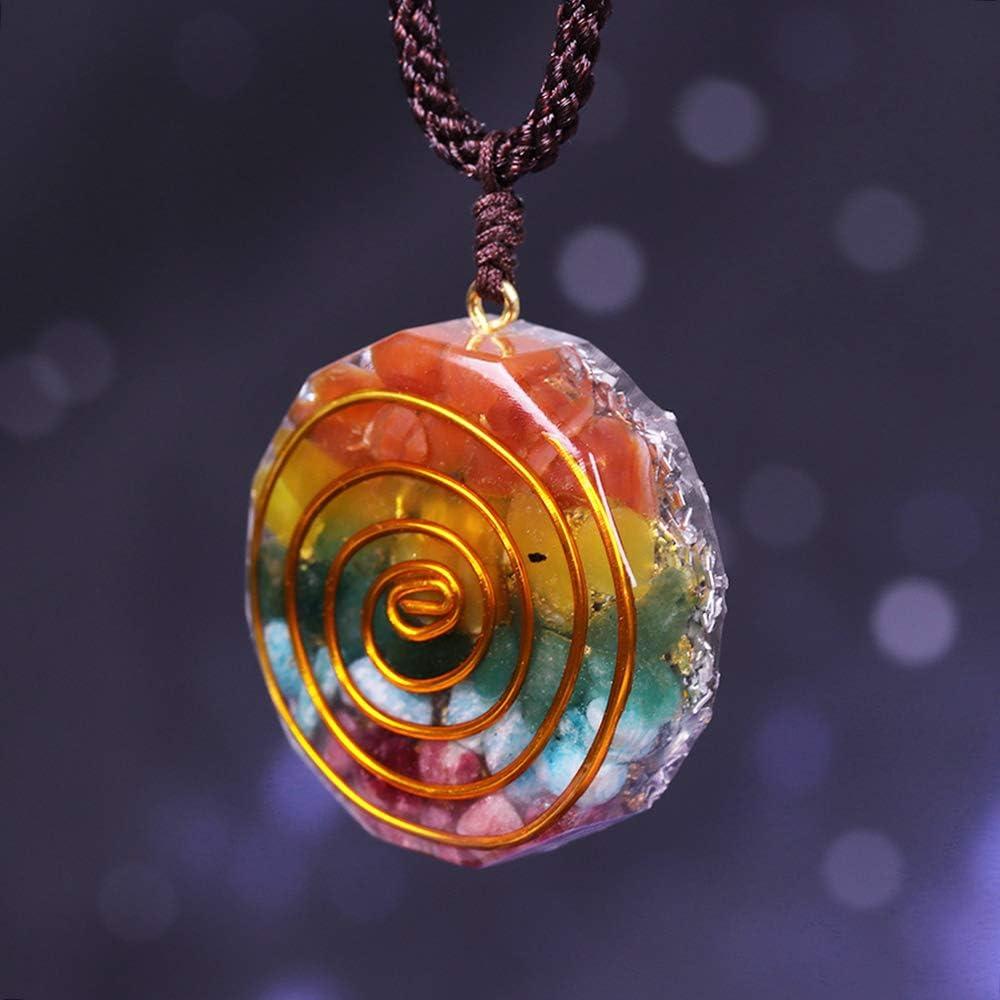 XIAOHNNL Colgante de Chakra Orgone Colorido Collar de Piedra Cristales de curación energética Chips Piedras caídas Collar Mixto de Resina de orgonita Collares Pendientes |