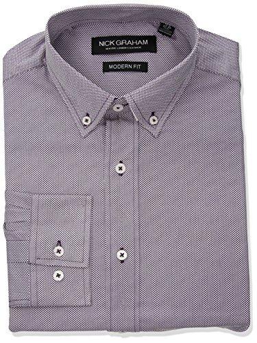 Nick Graham Men's Micro Dot Print Stretch Dress Shirt, Purple, 17
