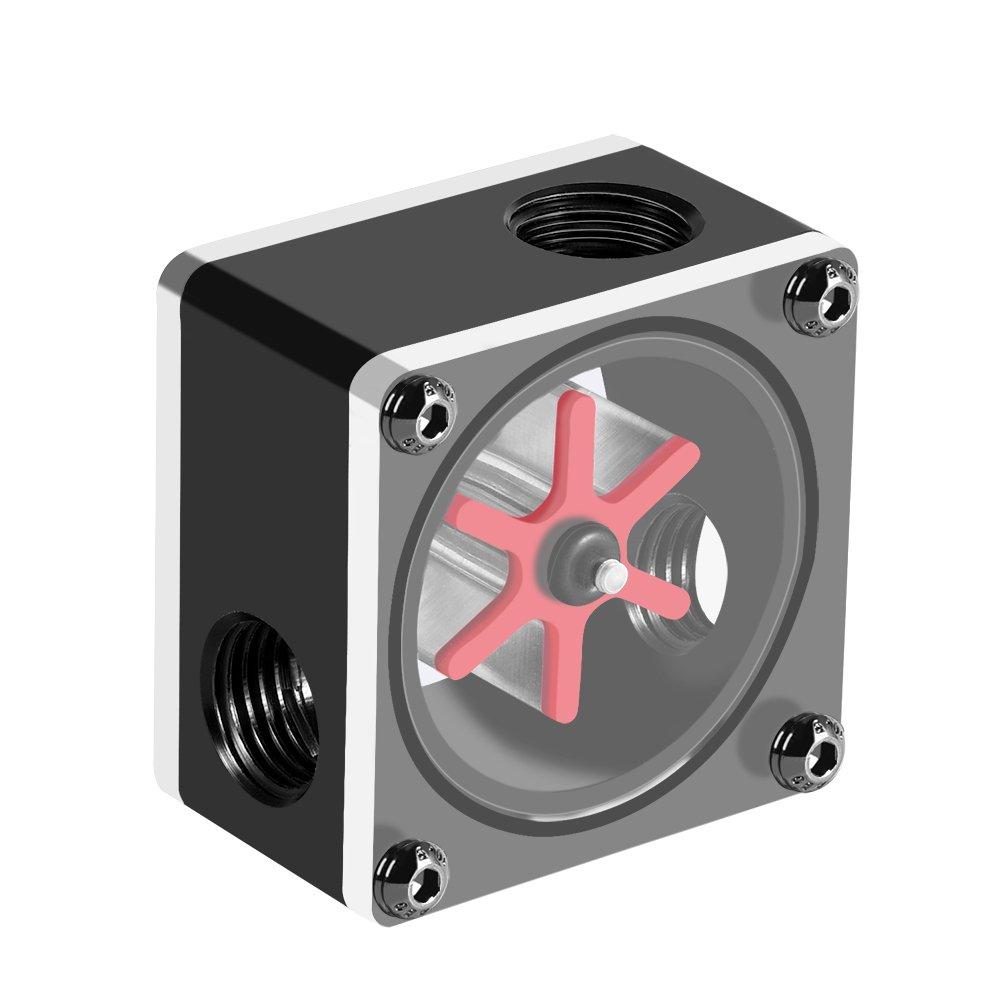Haofy 6 Laufrad 3 M/öglichkeiten Durchflussmesseranzeige f/ür PC-Wasserk/ühlsystem Gewinde G1//4