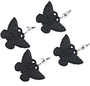 Funerom (Set of 4) Vintage Butterfly Tablecloth Weights with Metal Table Clip Clamps for Outdoor Garden Party Picnic Table Covers Black