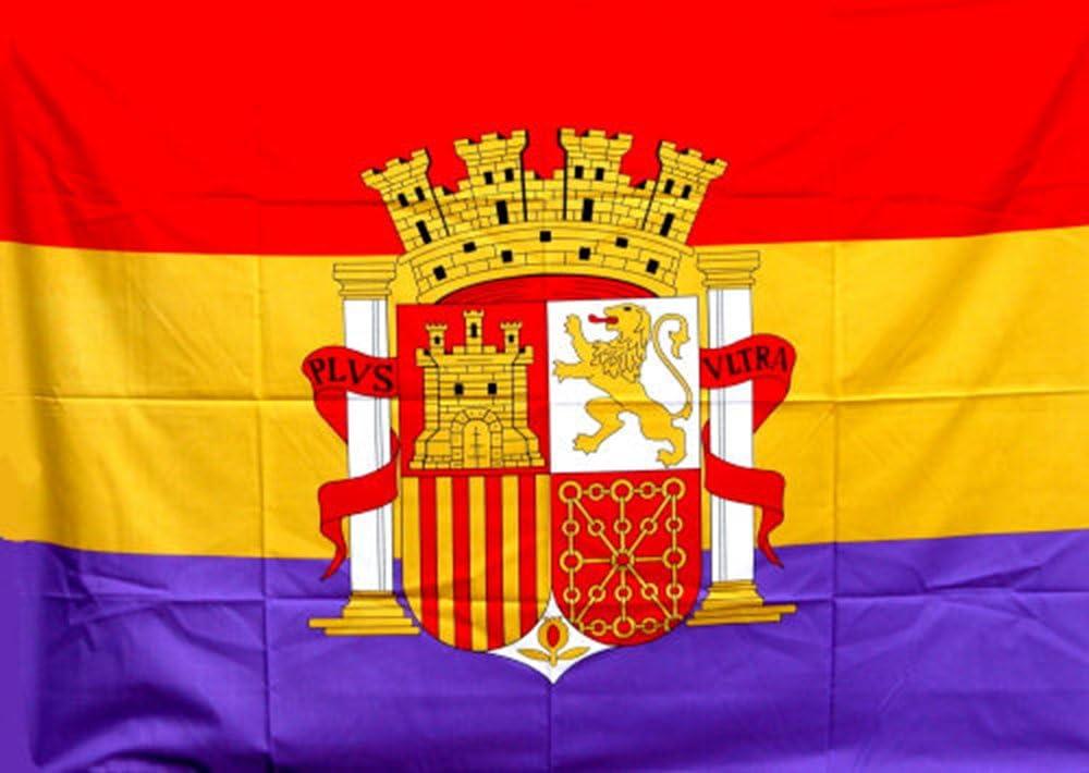 RQ Bandera de España Republicana de 135 X 95 cm. con Escudo Grande: Amazon.es: Jardín