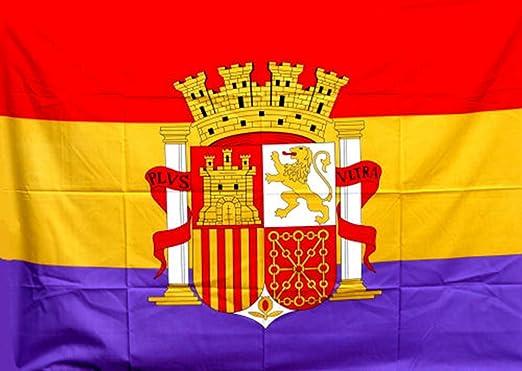 RQ Bandera de España Republicana de 135 X 95 cm. con Escudo Grande ...