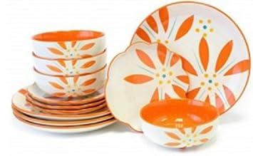 Temp-tations Hand Painted Stoneware 12-pc. Dinnerware Set - Vivid Old World  sc 1 st  Amazon.com & Amazon.com | Temp-tations Hand Painted Stoneware 12-pc. Dinnerware ...