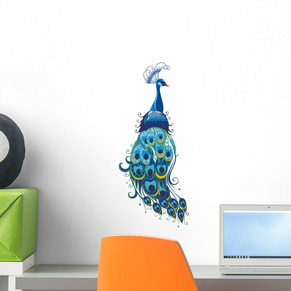 Wallmonkeys Peacock Wall Decal Peel and Stick Graphic (18 in H x 11 in W) WM251943