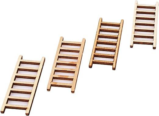 UNKE 4 mini escalera de madera de color natural para jardinería o jardinería: Amazon.es: Hogar