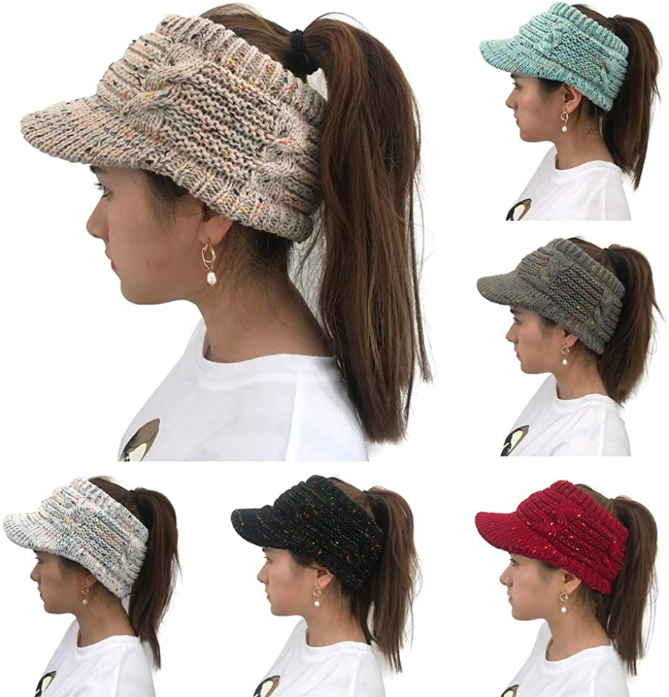 Dream Room Womens Baggy Slouchy Beanie Tail Winter Warm Fleece Skiing Knitted Cap Stretch Messy High Bun Ponytail Beanie Hat