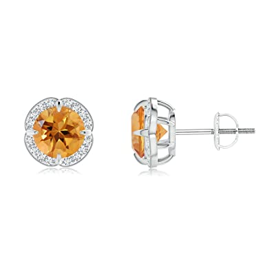 Angara Screwback Citrine Stud Earrings in Platinum vy5iRpMGiZ