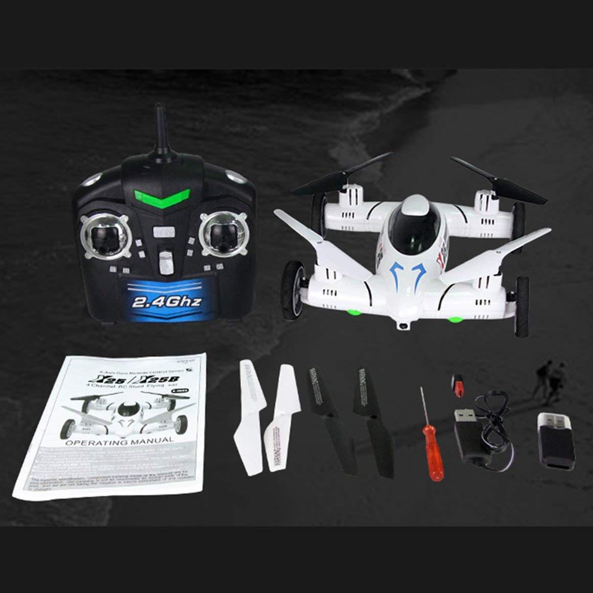 Funnyrunstore X25 720P HD Camera Smart RC Flying Car Drone Quadcopter Aircraft UAV con 360 ° Flip Altitude Hold 0ne Key Return, - (Bianco)