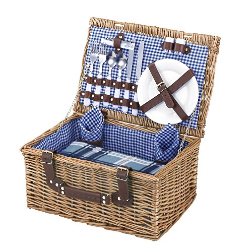 Picnic Basket Wine Glass (VonShef Deluxe 2 Person Traditional Wicker Picnic Basket Hamper with Cutlery, Plates, Glasses, Tableware & Fleece)