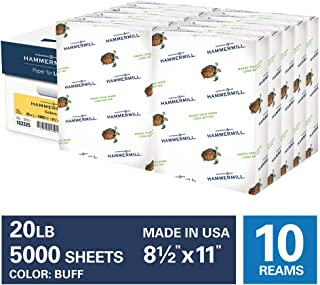 product image for Hammermill Colored Paper, 20 lb Buff Printer Paper, 8.5 x 11-10 Ream (5,000 Sheets) - Made in the USA, Pastel Paper