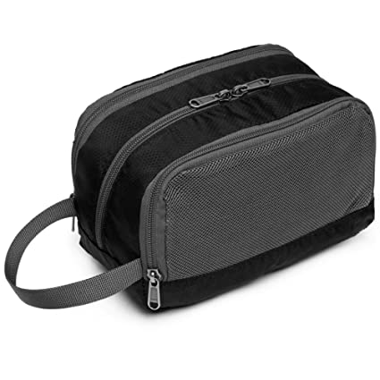 Travel Toiletry Bag for Men, Cambond Shaving Dopp Kit Cosmetic Makeup Organizer for Women Bathroom Shower Bag with Hanging Strap (Black)