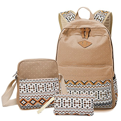 HITOP Backpacks for Teen Girls, Cute Fashion School Student Bookbag Set, Laptop Bag Shoulder Bag Pencil Bag 3 in 1 ... (Khaki (1 set))