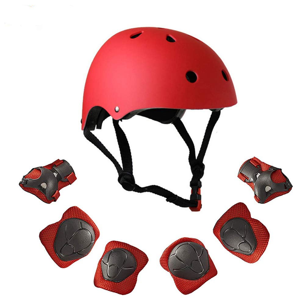 Warm House Kids Toddler Protective Gear and Helmet Sets,3 to 8 Years Old Kids Helmet and Pads Set[Knee Pads,Wrist Pads and Elbow Pads] for Skateboarding, Skating, Scooter, Cycling (Red) by Warm House