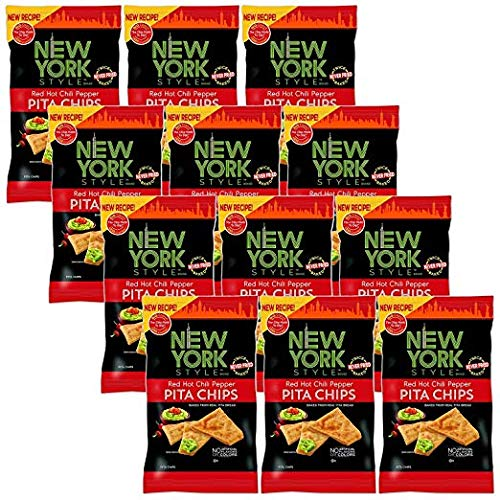 New York Style Pita Chips, Red Hot Chili Pepper (Pack of 12) by New York Style