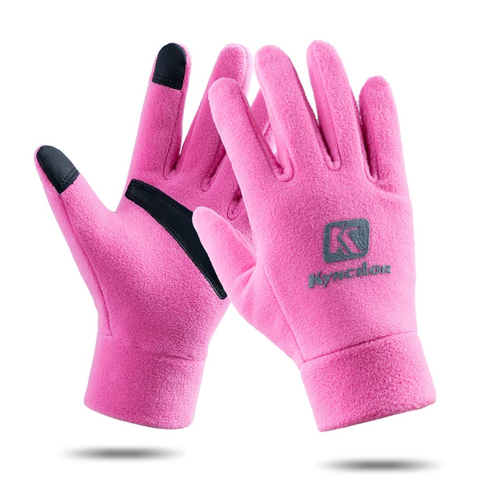 AINIYF Outdoor Sports Smart Gloves | Men's Winter Sports Mountaineering Skiing Women's Windproof Thicken Cycling Warm Motorcycle Full Finger Gloves Touch Screen (Color : Pink, Size : L)