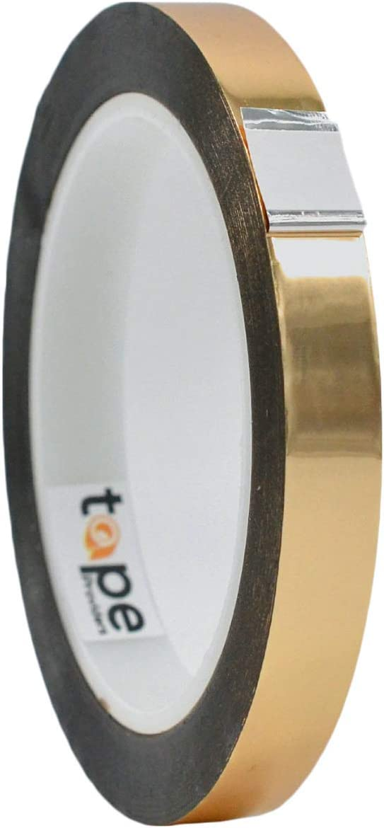 WOD MPFT2 Gold Metalized Polyester Mylar Film Tape with Acrylic Adhesive, 1/2 inch x 72 yds. Vibrant Mirror Like Finish, Decor Tape for Detailing Accent Wall, Graphic Arts, Car and Boat Trim