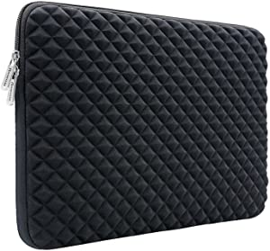 RAINYEAR 14 Inch Laptop Sleeve Diamond Foam Shock Resistant Neoprene Padded Case Fluffy Lining Zipper Cover Bag Compatible with 14