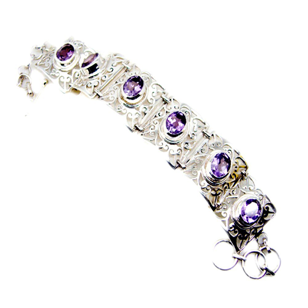 Natural Amethyst Sterling Silver Bracelet For Women February Birthstone Bangle Length 6.5,7,7.5,8 Inch by 55Carat