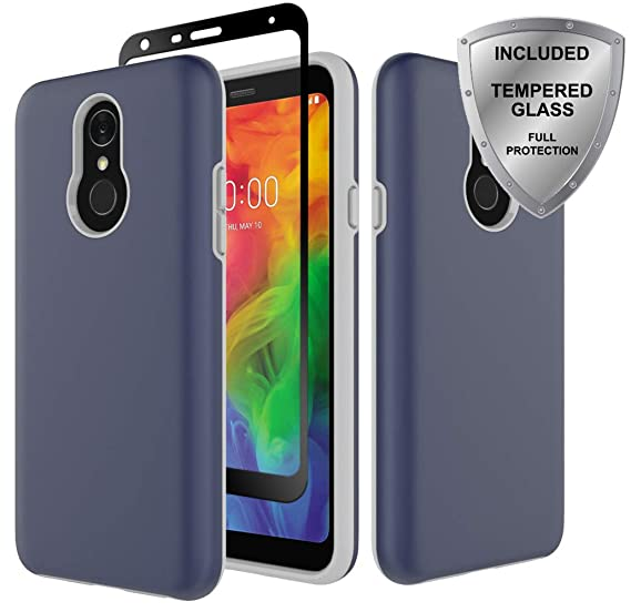 finest selection 35fb2 990e9 LG Q7 Case, LG Q7 Plus case, ChangeJ Heavy Duty Shockproof Reinforced Hard  PC Frame and TPU Bumper with Tempered Glass Screen Protector Protective ...