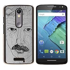 Retrato del artista Art Dibujo del bigote- Metal de aluminio y de plástico duro Caja del teléfono - Negro - Motorola Droid Turbo 2 / Moto X Force
