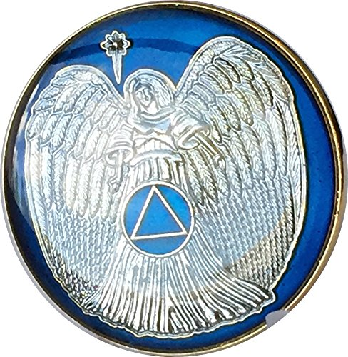 Guardian Angel Midnight Blue Gold Plated AA Medallion Pocket Token ()