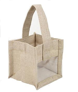 Mini bolsas de arpillera w/ventana transparente para bodas ...