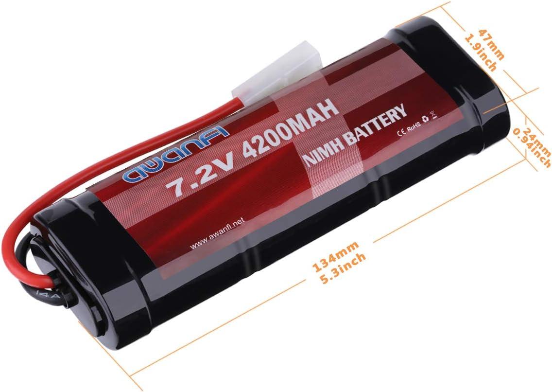 AWANFI 7,2V RC Akku 4200mah NiMH 2 St/ücke Akkupack Modellbau Batterie Ersatzakku f/ür RC Auto Boot Buggy 2 Pack