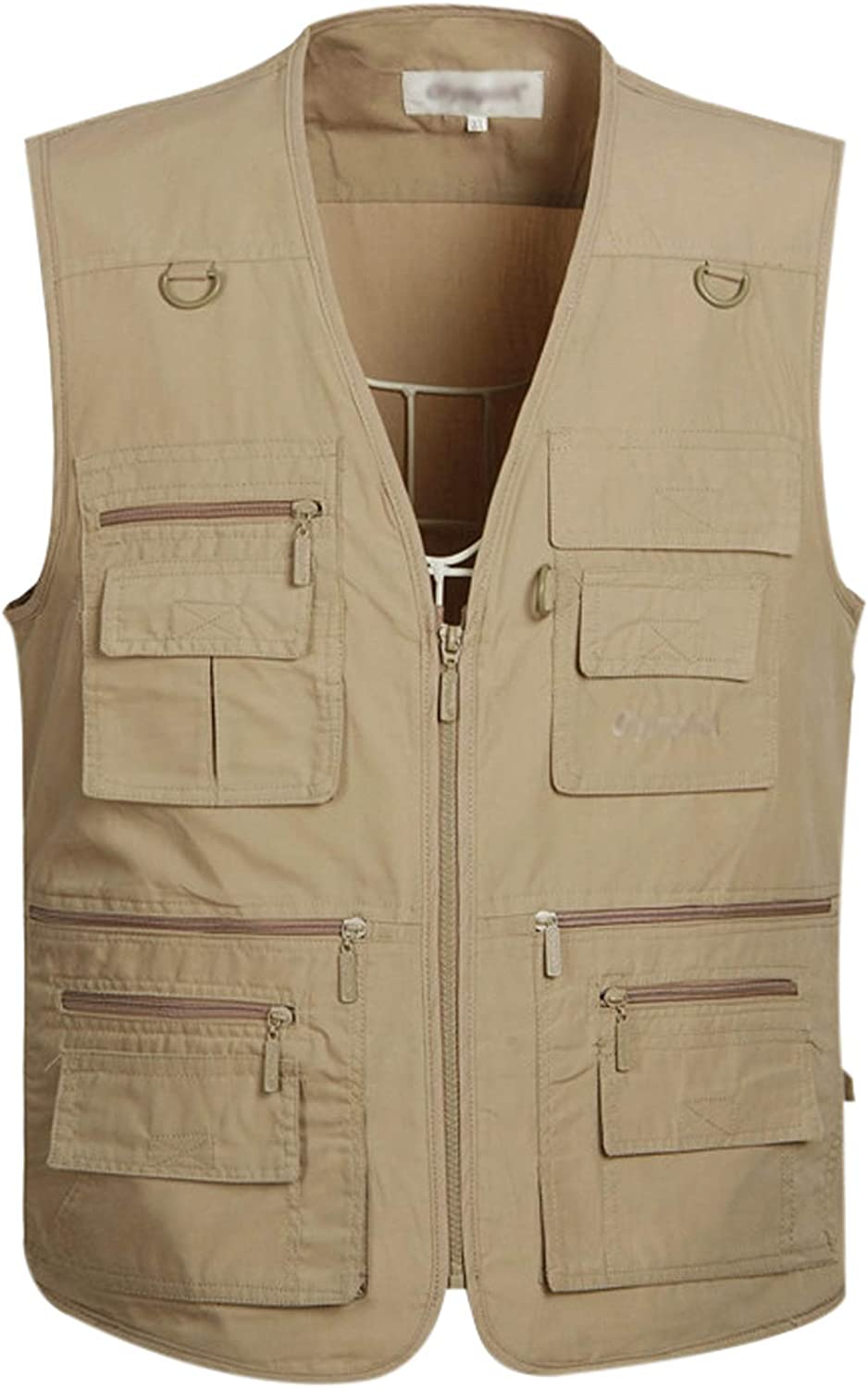 Gihuo Men's Summer Outdoor Work Safari Fishing Travel Photo Vest with Pockets