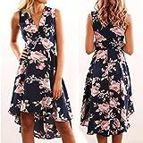 Women's Summer V Neck Sleeveless Floral Short Mini Dress Ladies Beach Party Dresses (S, Dark Blue)